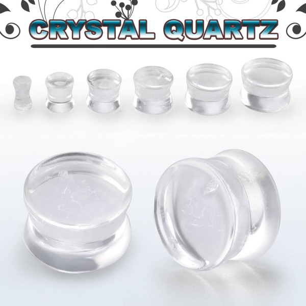Steinplug Crystal Quartz 3-20mm transparent / clear Tunnel Plug