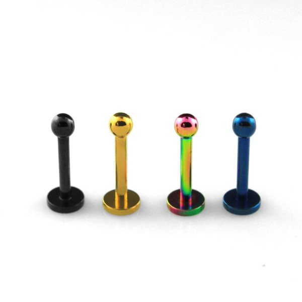 Labret Stud Piercing Stärke 1,2mm Kugel: 2,5mm farbig Chirugenstahl 316L