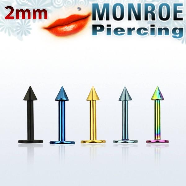 Labret Stud Piercing Stärke 1,0mm Kegel: 2,0mm farbig Chirugenstahl 316L