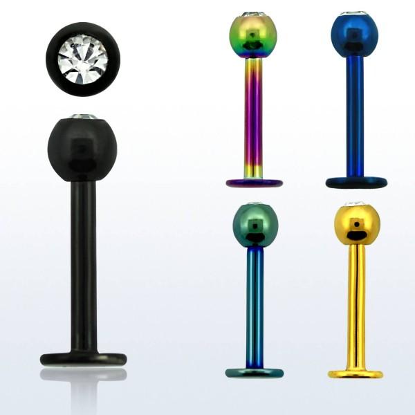 Labret Stud Piercing Stärke 1,2mm Kristallkugel: 3,0mm farbig Chirugenstahl 316